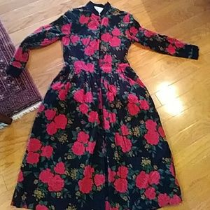 Vintage Talbots corduroy red rose dress sz 6P